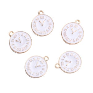 Gold/White Enamel & Alloy Clock Charms 14mm x 17mm Pack Of 5 ZX19050
