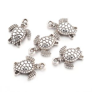 Antique Silver Tibetan Zinc Turtle Charms 12.5mm x 16mm Pack Of 20 ZX19065