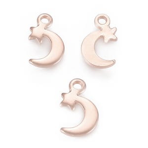 Rose Gold Stainless Steel Moon & Star Charms 7mm x 11mm Pack Of 3 ZX19070
