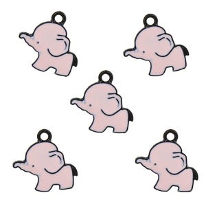 Black/Pink Enamel & Alloy Elephant Charms 20mm Pack Of 5 ZX19110