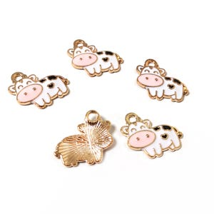 Rose Gold/White Enamel & Alloy Cow Charms 18mm x 17mm Pack Of 5 ZX19115