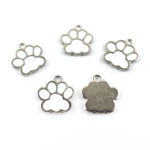 Silver/White Zinc Alloy Paw Print Charms 16.2mm x 17.5mm Pack Of 5 ZX19130