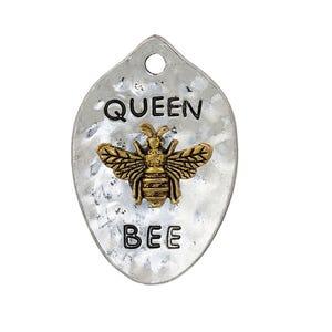 Silver/Gold Zinc Alloy Queen Bee Pendant 28.5mm x 43mm  ZX19160
