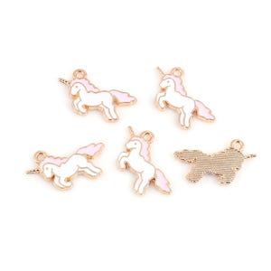 Rose Gold/White Enamel & Alloy Unicorn Charms 20mm x 17mm Pack Of 5 ZX19170