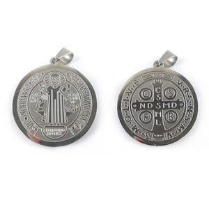 Silver Stainless Steel San Benito Medal Pendant 30mm x 33mm  ZX20105