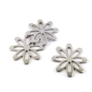 Silver Stainless Steel Flower Charms 21mm Pack Of 3 ZX20300